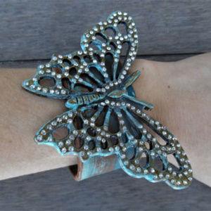 ECOFOLK Turquoise Butterfly Leather Cuff Bracelet
